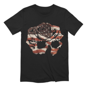 4th of July Themed Dommin Shirt Rose Skull American Flag